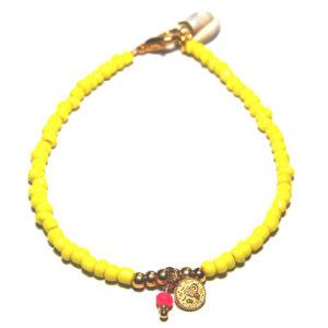 Enkelbandje Ibiza style Rocailles geel