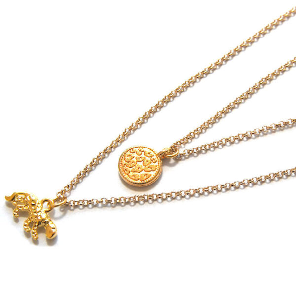 Ketting dubbel luipaard gold plated